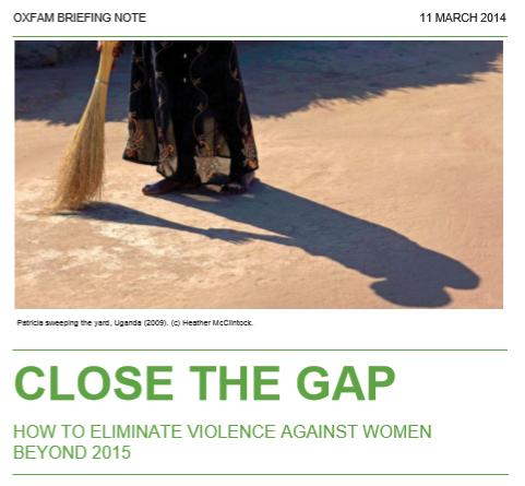 How to eliminate violence against women beyond 2015: Close the Gap